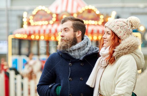 幸せ カップル 徒歩 旧市街 休日 冬 ストックフォト © dolgachov