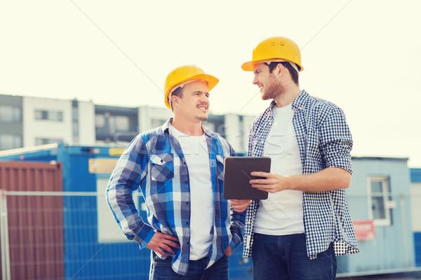 Glimlachend bouwers business gebouw teamwerk Stockfoto © dolgachov