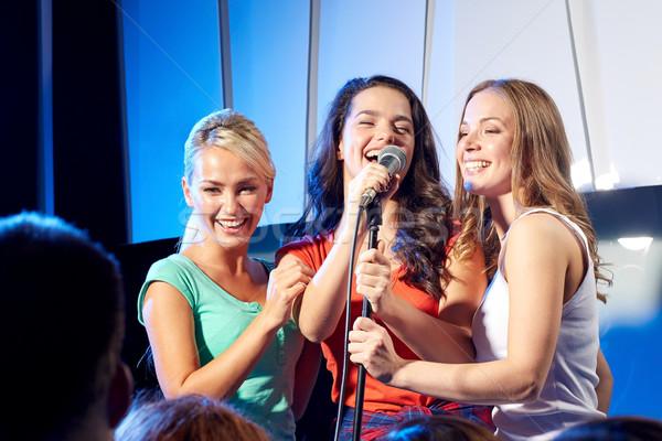 3  幸せ 女性 歌 ナイトクラブ ステージ ストックフォト © dolgachov