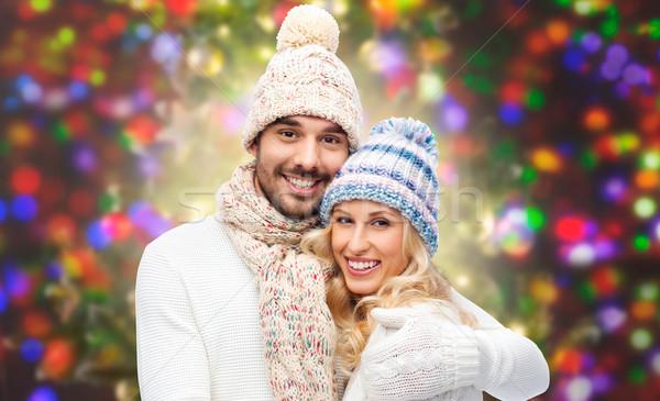 Gelukkig paar winter kleding lichten Stockfoto © dolgachov