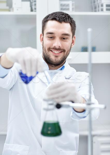 Foto stock: Jovem · cientista · corpo · pesquisa · lab