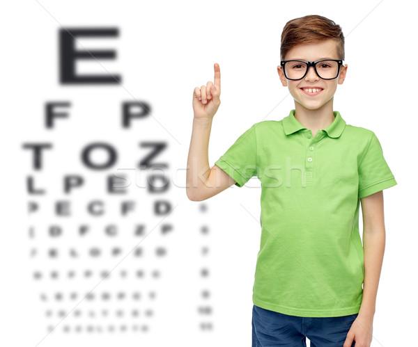очки указывая пальца вверх детство Сток-фото © dolgachov