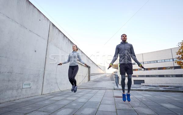 Férfi nő testmozgás kint fitnessz sport Stock fotó © dolgachov