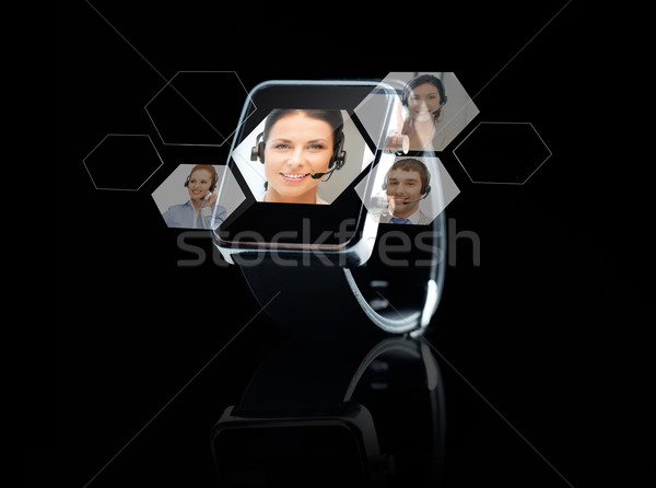 close up of black smart watch with contacts online Stock photo © dolgachov