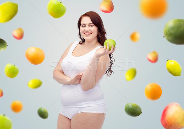 幸せ プラスサイズ 女性 下着 リンゴ ストックフォト © dolgachov