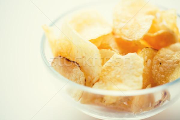 Knapperig aardappel glas kom fast food Stockfoto © dolgachov