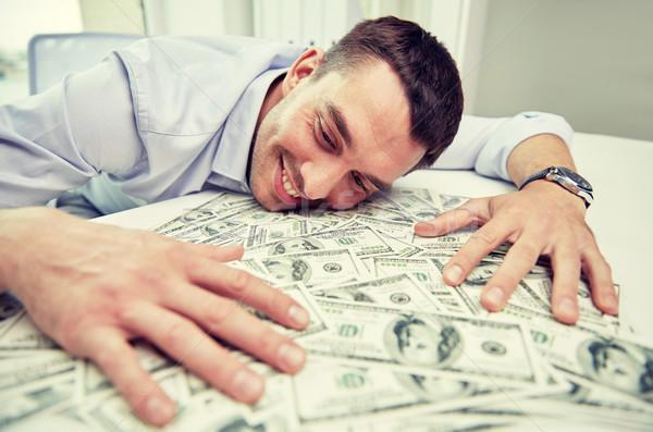 Gelukkig zakenman hoop geld kantoor zakenlieden Stockfoto © dolgachov