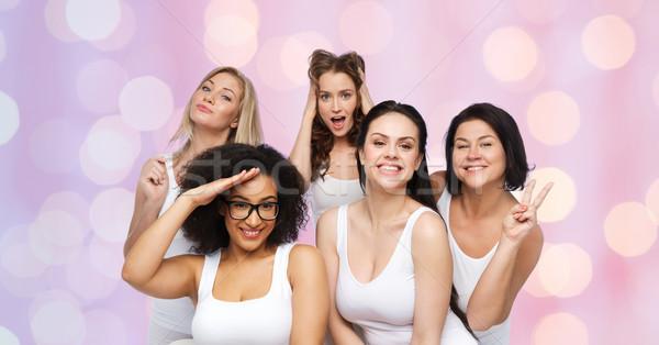 Stock photo: group of happy women in white underwear having fun