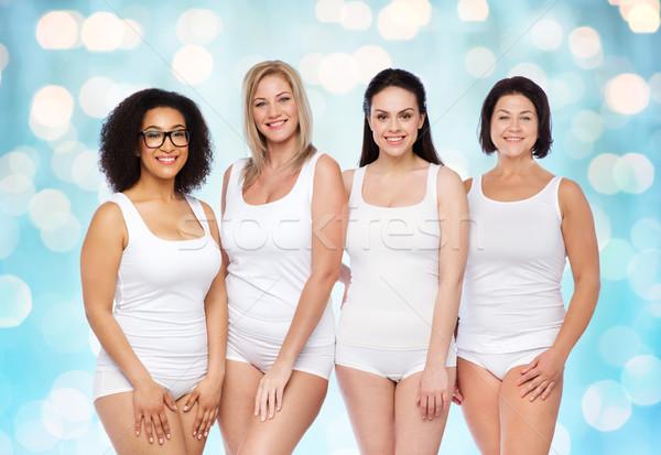ストックフォト: グループ · 幸せ · 異なる · 女性 · 白 · 下着