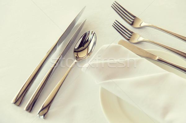 Talheres conjunto tabela alimentação Foto stock © dolgachov