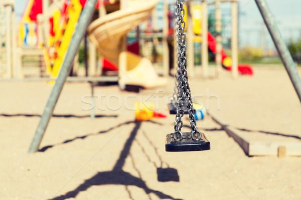Huśtawka boisko odkryty dzieciństwo wyposażenie Zdjęcia stock © dolgachov