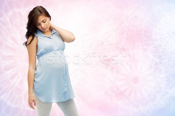 Mulher grávida gravidez saúde pessoas expectativa cama Foto stock © dolgachov