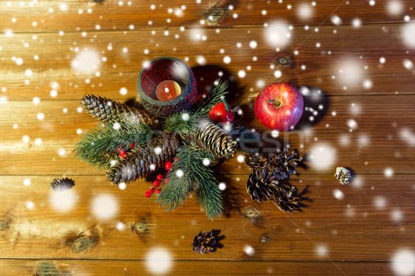 Navidad abeto rama decoración vela linterna Foto stock © dolgachov