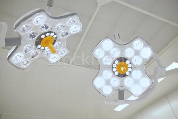 Sebészi lámpák operáció szoba kórház gyógyszer Stock fotó © dolgachov