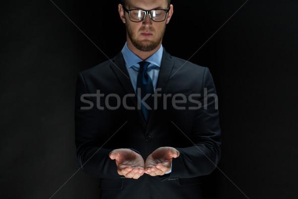 Сток-фото: бизнесмен · что-то · рук · бизнеса