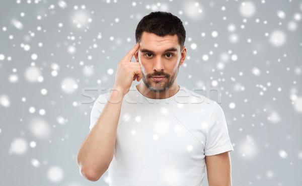 человека пальца храма снега Идея вдохновение Сток-фото © dolgachov