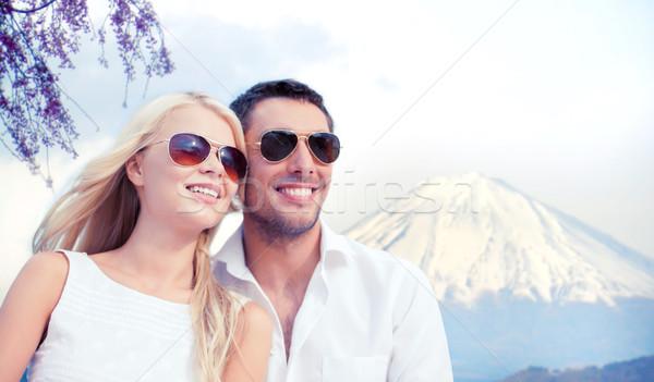 Mutlu çift fuji dağ yaz tatil Stok fotoğraf © dolgachov