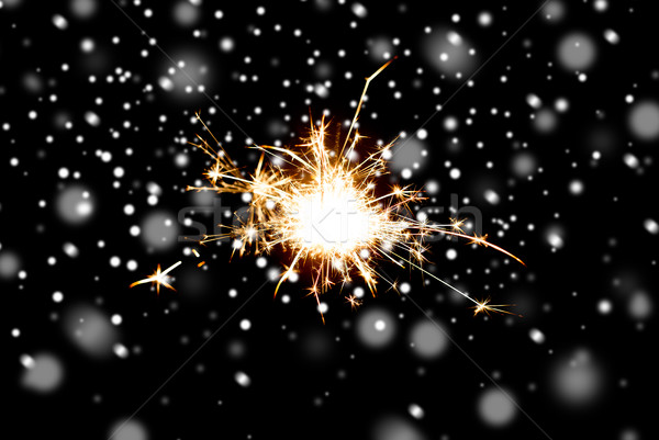 Sparkler lumière brûlant noir Noël Photo stock © dolgachov