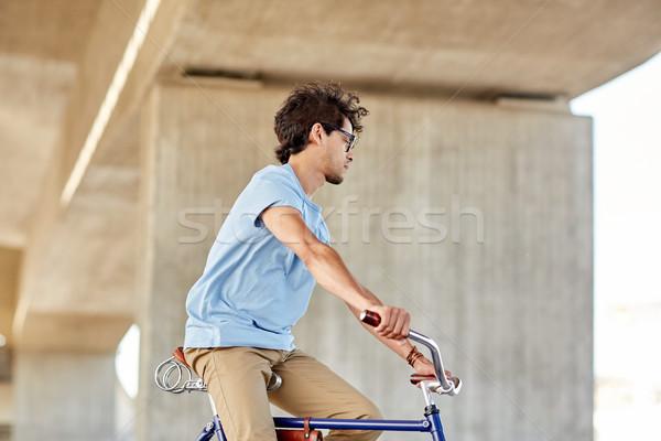 человека верховая езда зафиксировано Gear велосипедов Сток-фото © dolgachov