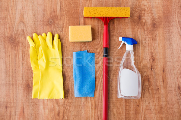 swab with cleaning stuff on wooden background Stock photo © dolgachov