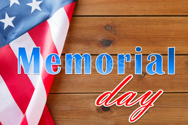 memorial day words over american flag on wood Stock photo © dolgachov