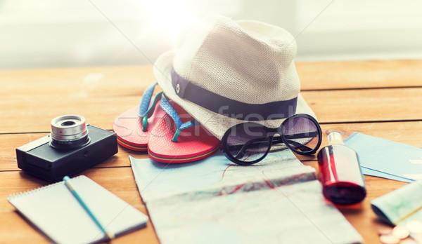 путешествия карта билеты деньги Летние каникулы Сток-фото © dolgachov