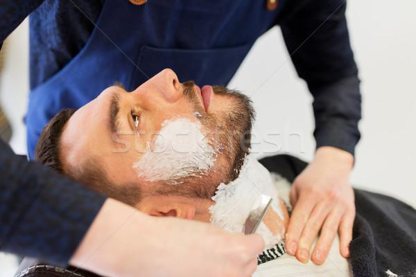 男 理髪 ストレート かみそり あごひげ 人 ストックフォト © dolgachov
