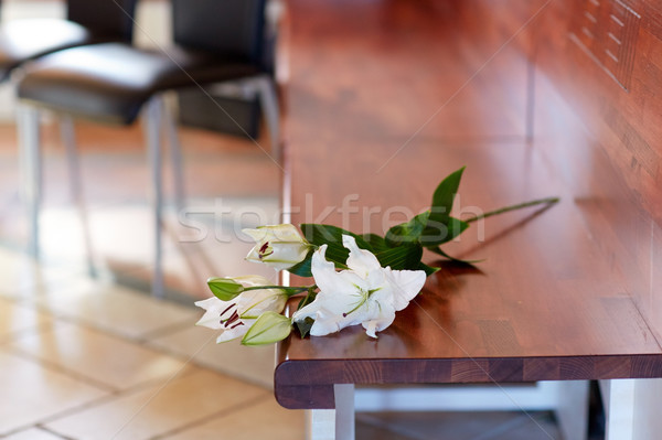 white lily on bench at funeral in church Stock photo © dolgachov
