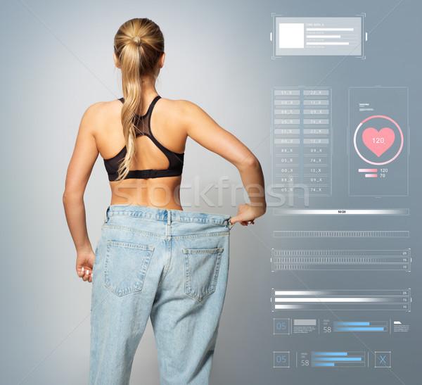 Jungen schlank sportlich Frau groß Größe Stock foto © dolgachov