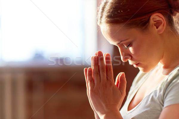 Közelkép nő meditál jóga stúdió vallás Stock fotó © dolgachov