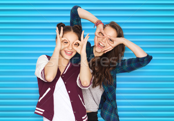 happy smiling pretty teenage girls having fun Stock photo © dolgachov