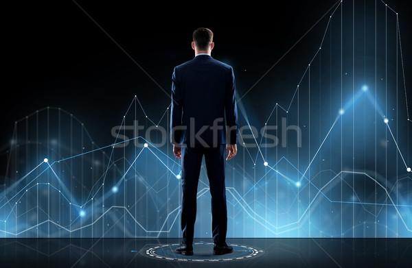 Zdjęcia stock: Biznesmen · garnitur · powrót · faktyczny · wykres · działalności