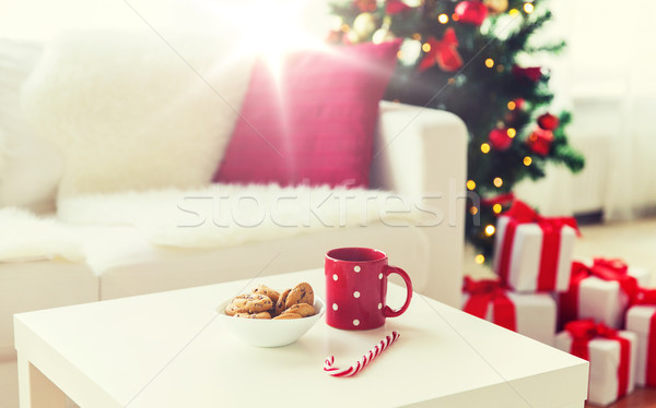 Natale cookies zucchero di canna Cup vacanze Foto d'archivio © dolgachov