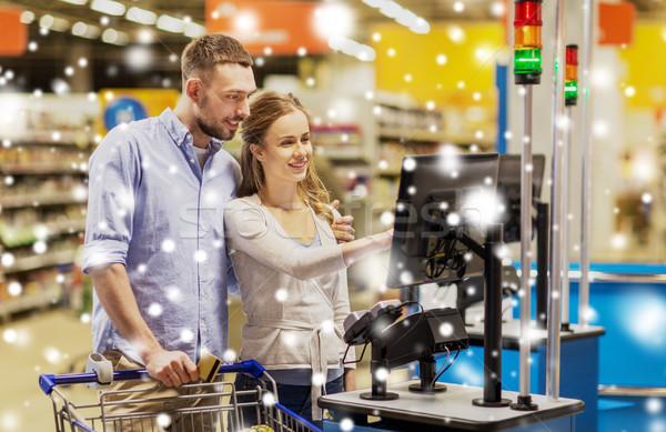 Foto stock: Casal · compra · comida · mercearia · compras · venda