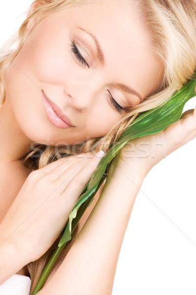 Mujer hoja verde Foto salud verde Foto stock © dolgachov