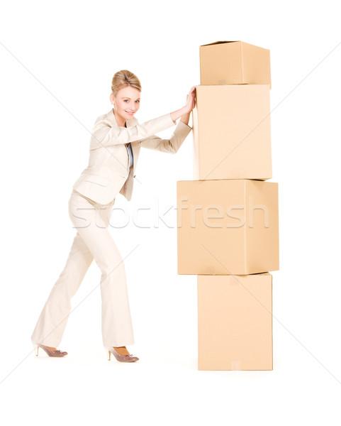 ストックフォト: 女性実業家 · ボックス · 画像 · 白 · ビジネス · 女性