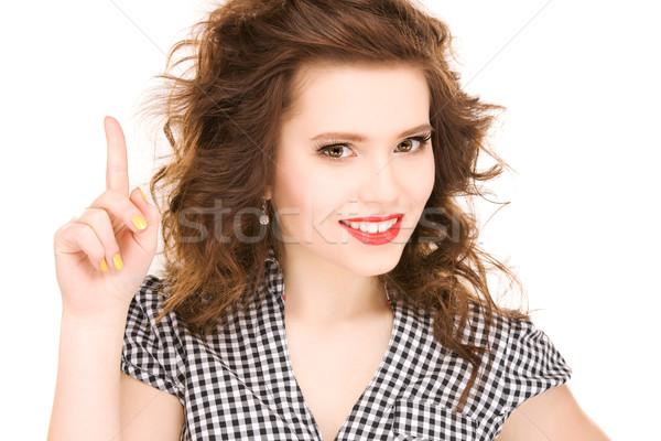 Stockfoto: Tienermeisje · vinger · omhoog · foto · aantrekkelijk · vrouw
