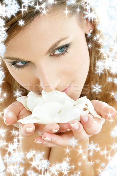 バラの花びら 雪 女性 クリスマス スパ 白 ストックフォト © dolgachov