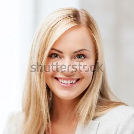 lovely blond in fur Stock photo © dolgachov