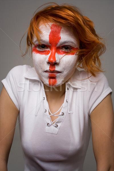 Angol futball smink lány futball zászló Stock fotó © dolgachov