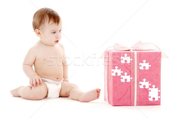 Bebê menino fralda grande quebra-cabeça caixa de presente Foto stock © dolgachov