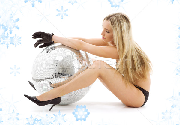party dancer on high heels with disco ball Stock photo © dolgachov