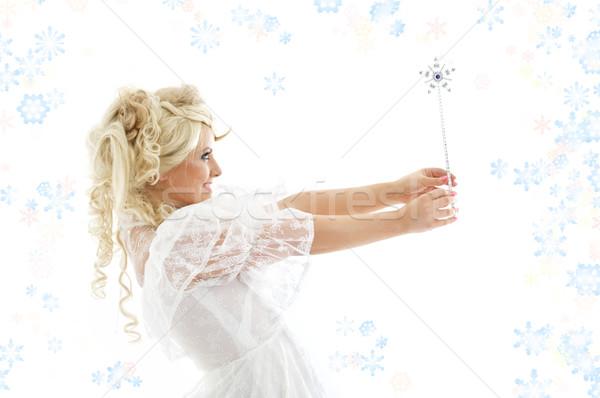 Сток-фото: фея · оказанный · рук · снега