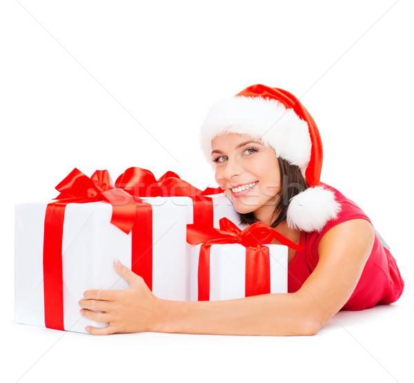 улыбающаяся женщина помощник Hat Рождества Сток-фото © dolgachov
