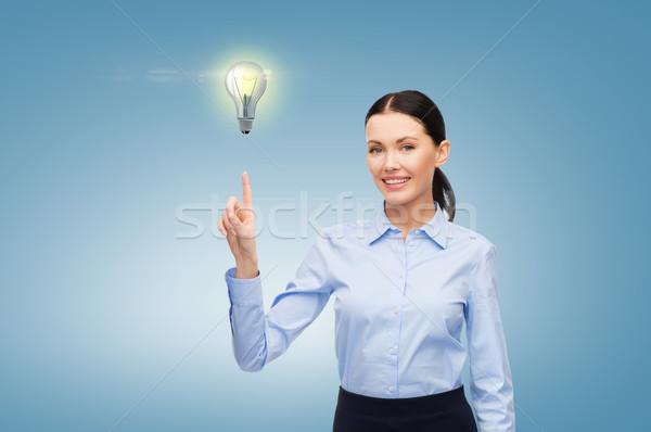 Femme travail imaginaire écran affaires Photo stock © dolgachov
