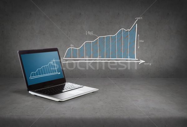 портативного компьютера графа экране технологий реклама бизнеса Сток-фото © dolgachov