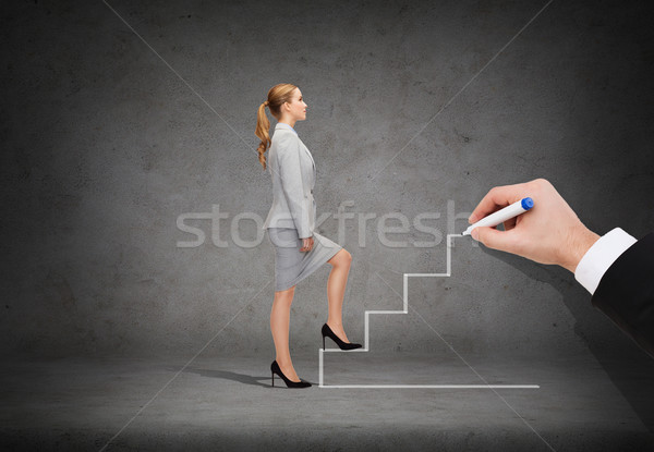 businesswoman stepping up staircase Stock photo © dolgachov