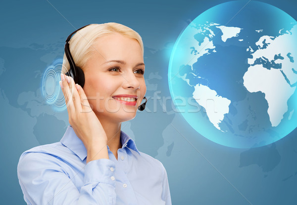 Przyjazny kobiet operatora działalności technologii Zdjęcia stock © dolgachov