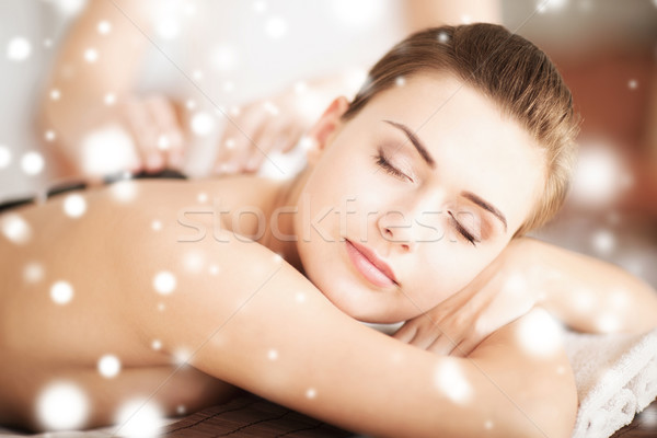 Stock photo: woman in spa with hot stones