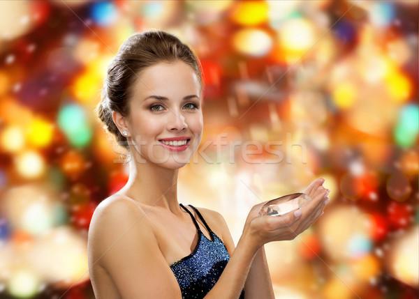 Glimlachende vrouw avondkleding diamant mensen vakantie glamour Stockfoto © dolgachov